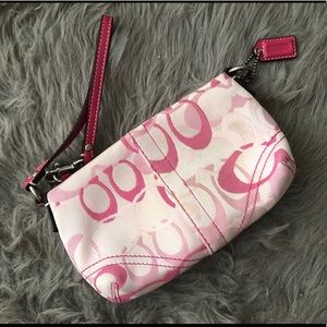Pre-loved Coach Signature C Pink Wristlet